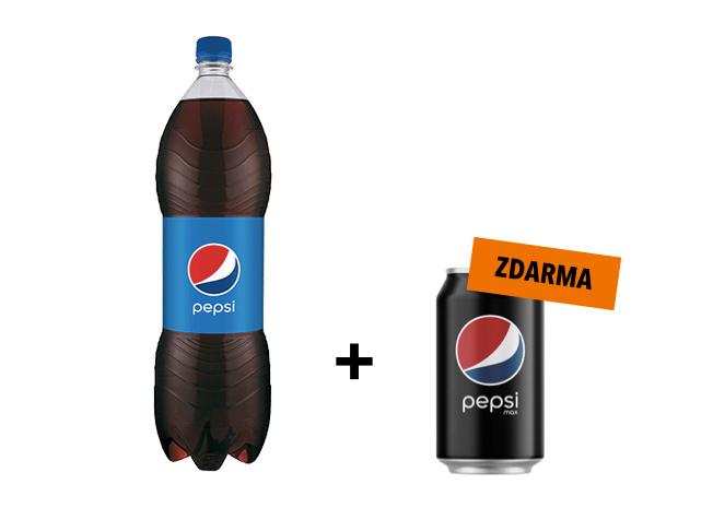 Pepsi 1.5L + Pepsi Max 0.33L zdarma