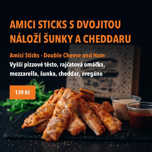 AMICI sticks s dvojitou náloží šunky a cheddaru.